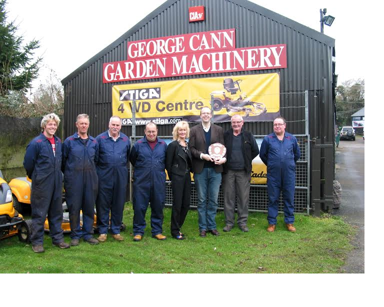 The above photograph was taken by Eddie Rich.   The photograph from left to right is showing; Steve Birch, Paul Stennett, Ken Young, Andy Butler, Jill Vickery, Simon Evans (Chamber of Commerce), Steve Cann & Gavin Noyce (George Cann Garden Machinery)
