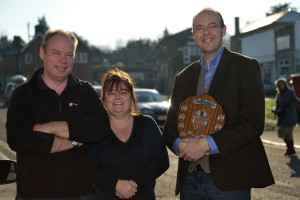 David & Lorraine of Barnes & Liddiard with Simon Evans (Chamber of Commerce)